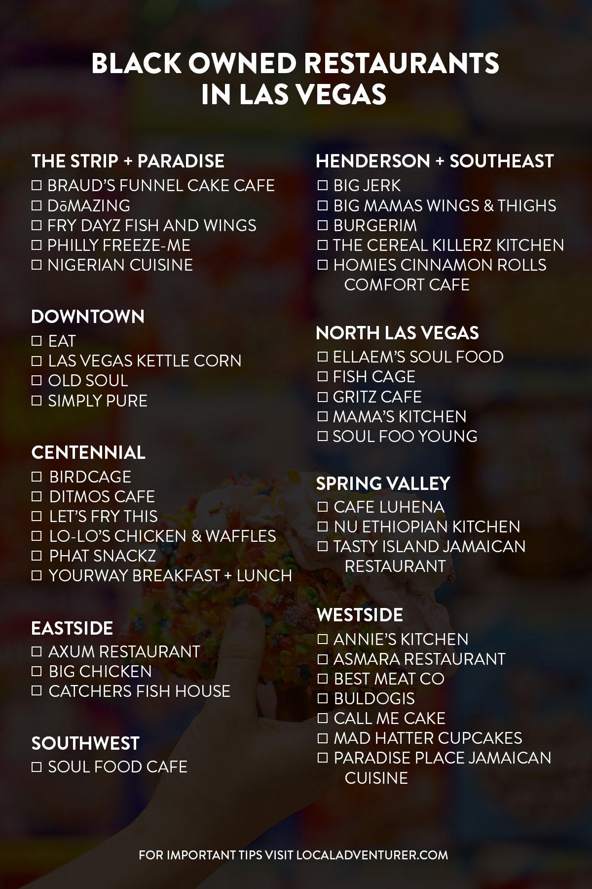 39 Black Owned Restaurants In Las Vegas Local Adventurer Las Vegas Nevada Travel Road Trip Fun