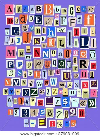 Alphabet collage ABC vector alphabetical font letter cutout of newspaper magazine and colorful alphabetic handmade cutting text newsprint illustration alphabetically typeset isolated on background poster