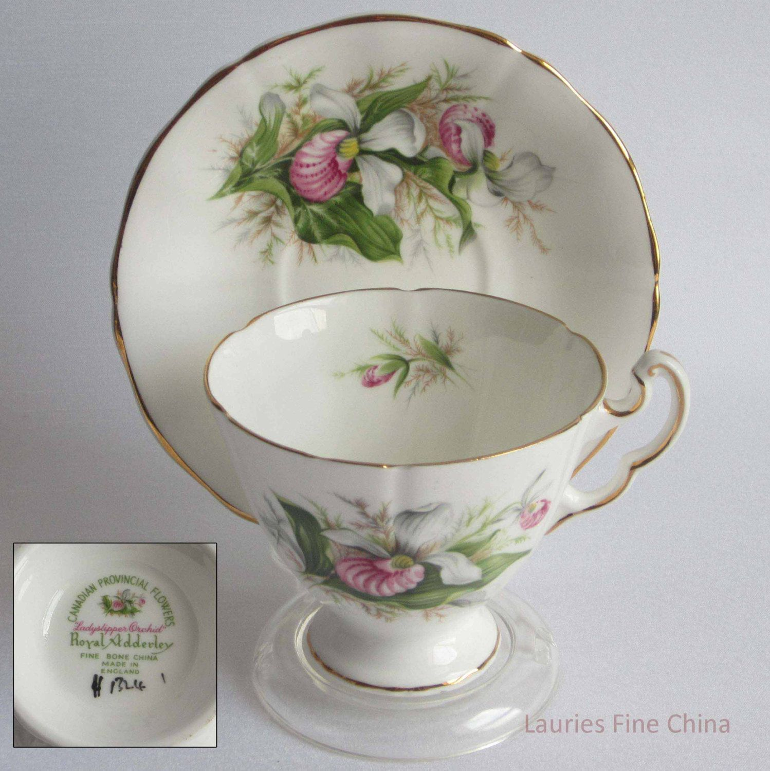 Royal Adderley/Adderley LADYSLIPPER ORCHID - Bone China Tea Cup and Saucer - Made in England by LauriesFineChina on Etsy