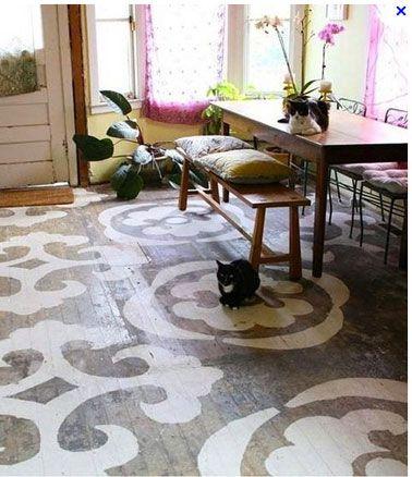 Image issue du site Web http://www.deco-cool.com/wp-content/uploads/2013/01/salle-a-manger-parquet-peint-grands-motifs-blancs.jpg
