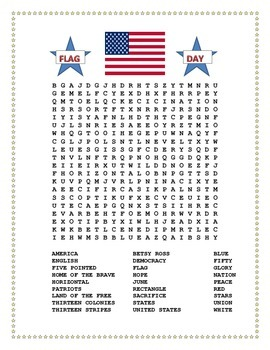 Flag Day Word Search And Double Puzzle With Hidden Message First Grade Lessons Third Grade Lessons Last Day Of School