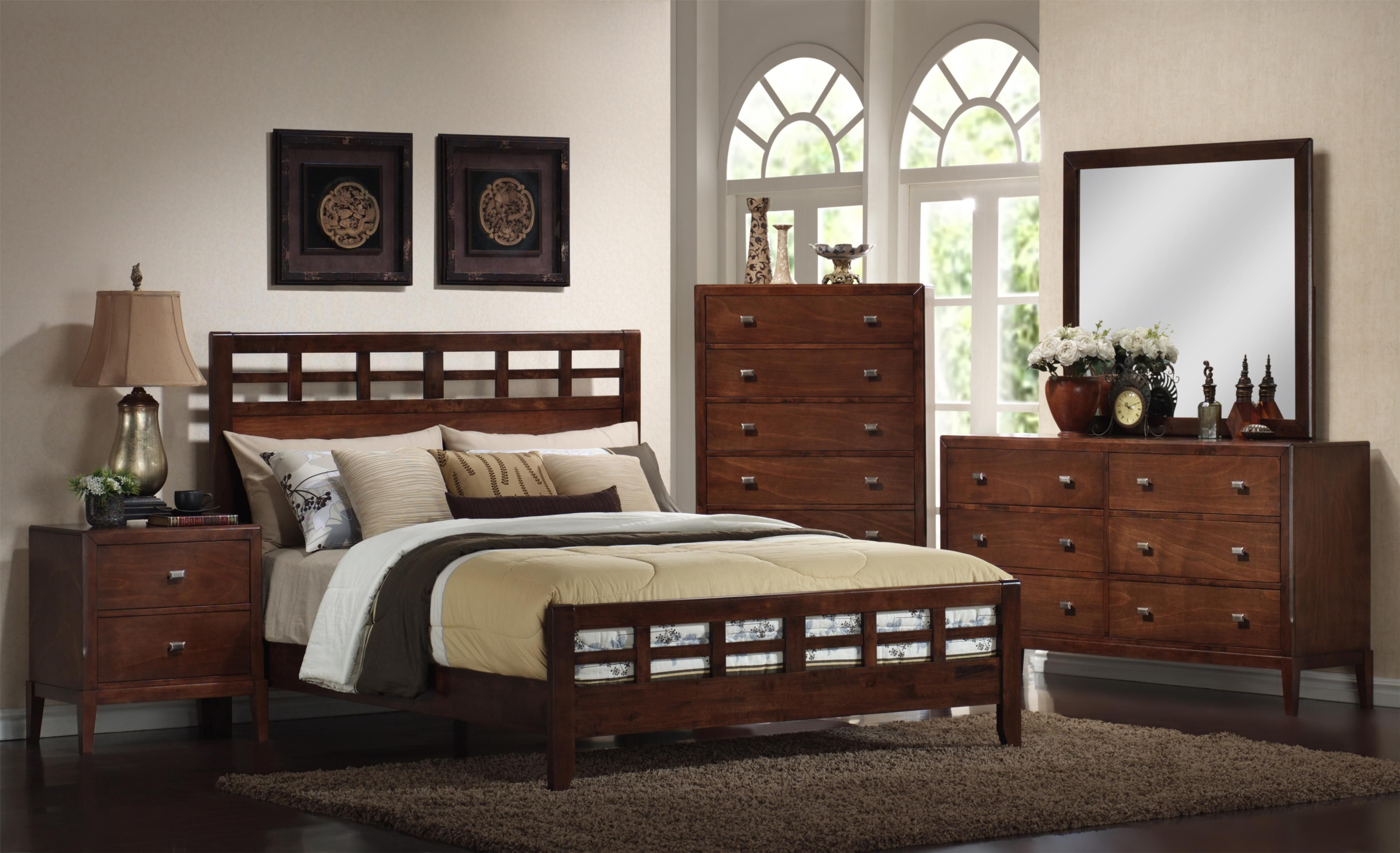 9142 King Wooden Grille Headboard and Footboard Panel Bed by ...