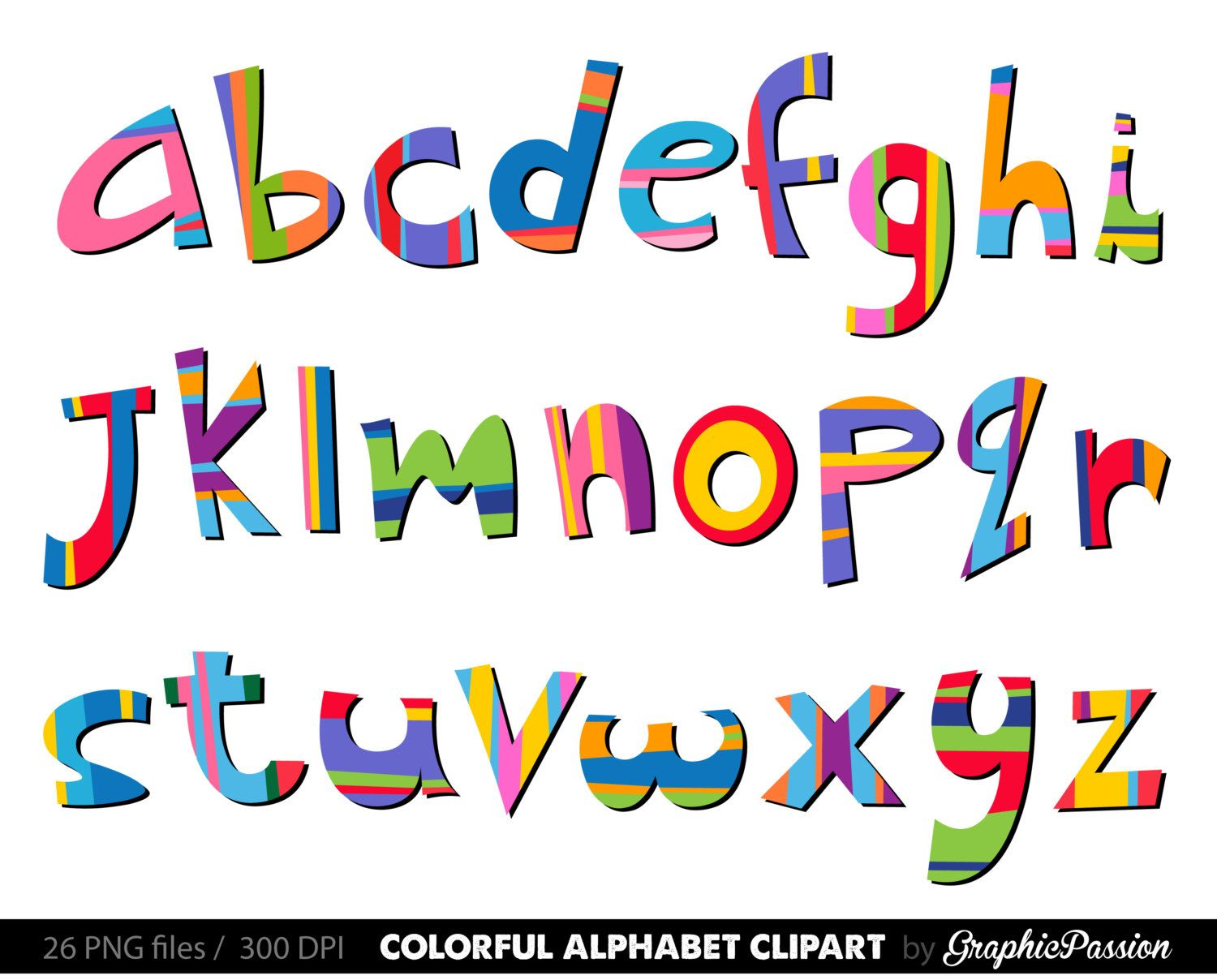 Scrapbooking Alphabet Clipart Color Alphabet Digital Alphabet