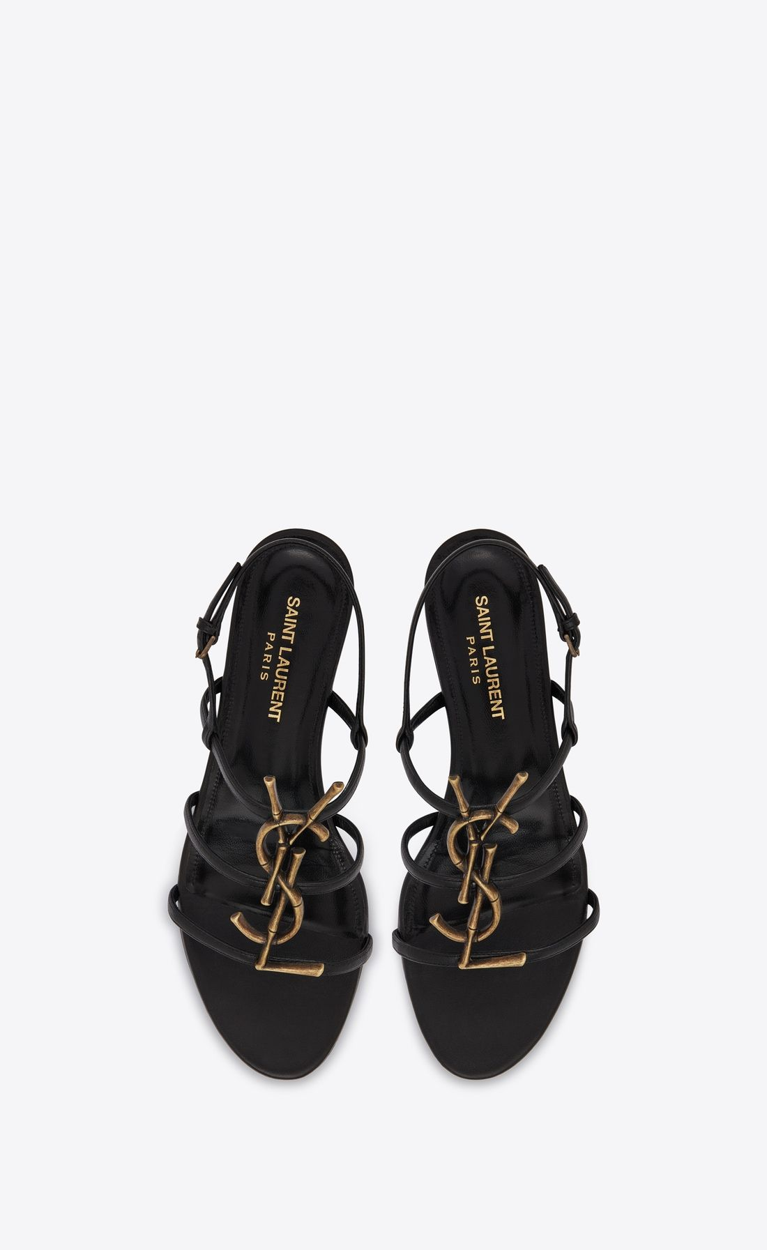 Cassandra Open Sandals In Smooth Leather With Gold Toned