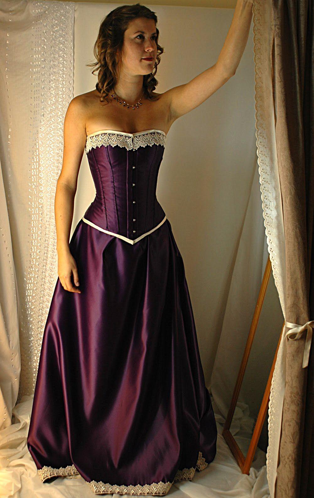 Corset Wedding Dresses Cadbury Purple And Antiqued Ivory Steel Boned Gown