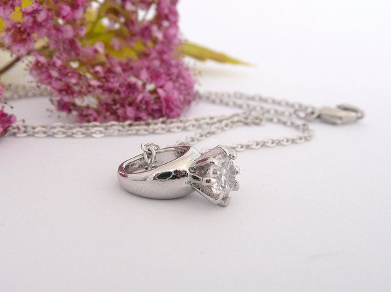 Engagement Ring Necklace, Simple Silver Necklace with Cubic Zirconia Pendant,  Wedding Necklace