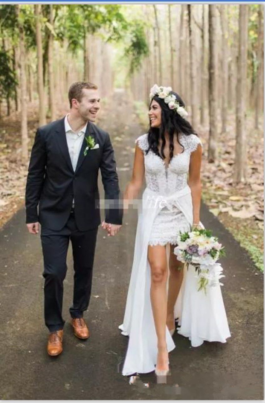 Cool great detachable short lace bridal gown wedding dress custom