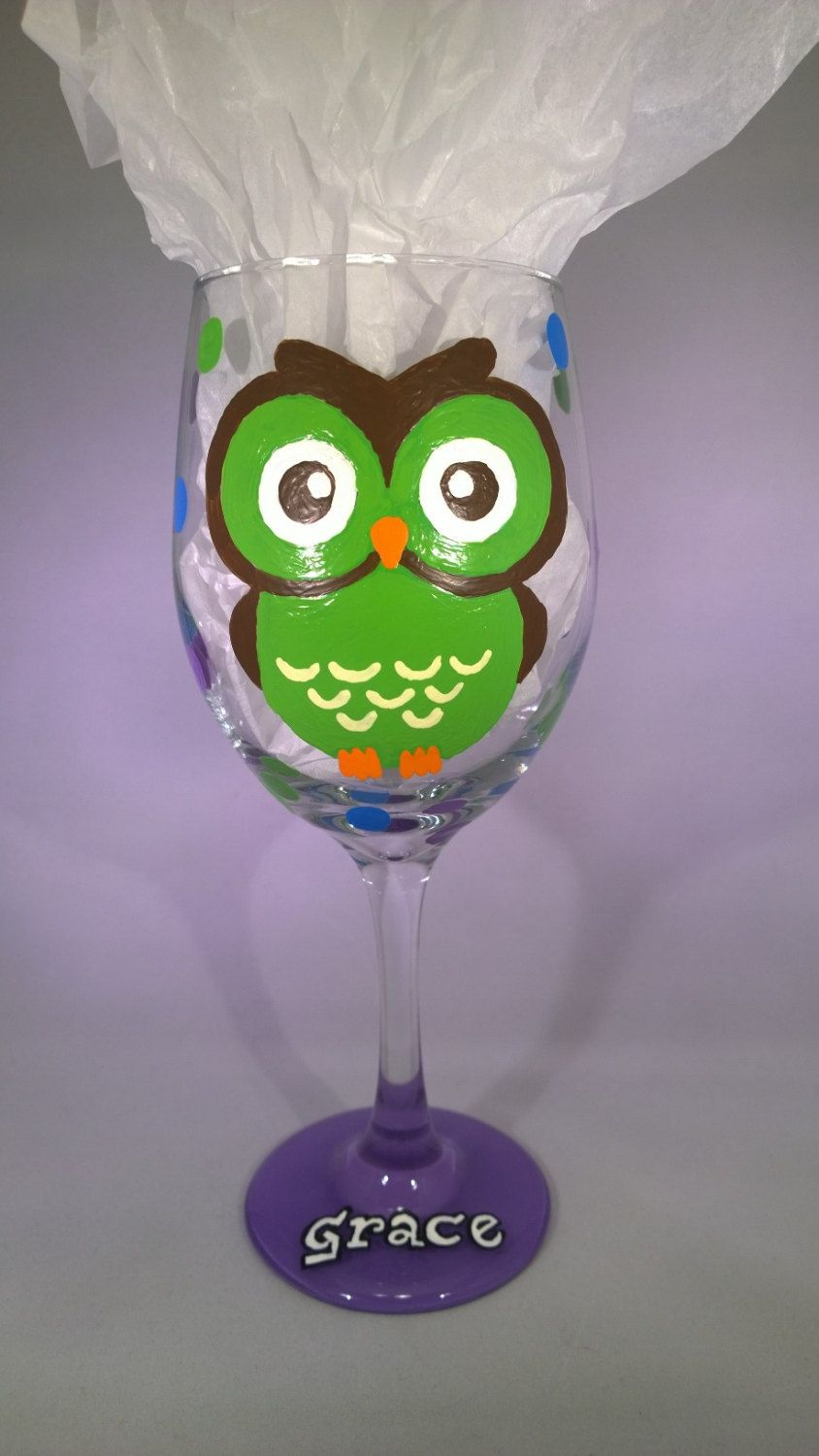 Hand Painted Owl Wine Glass by GorejessLaboratory on Etsy $20.00