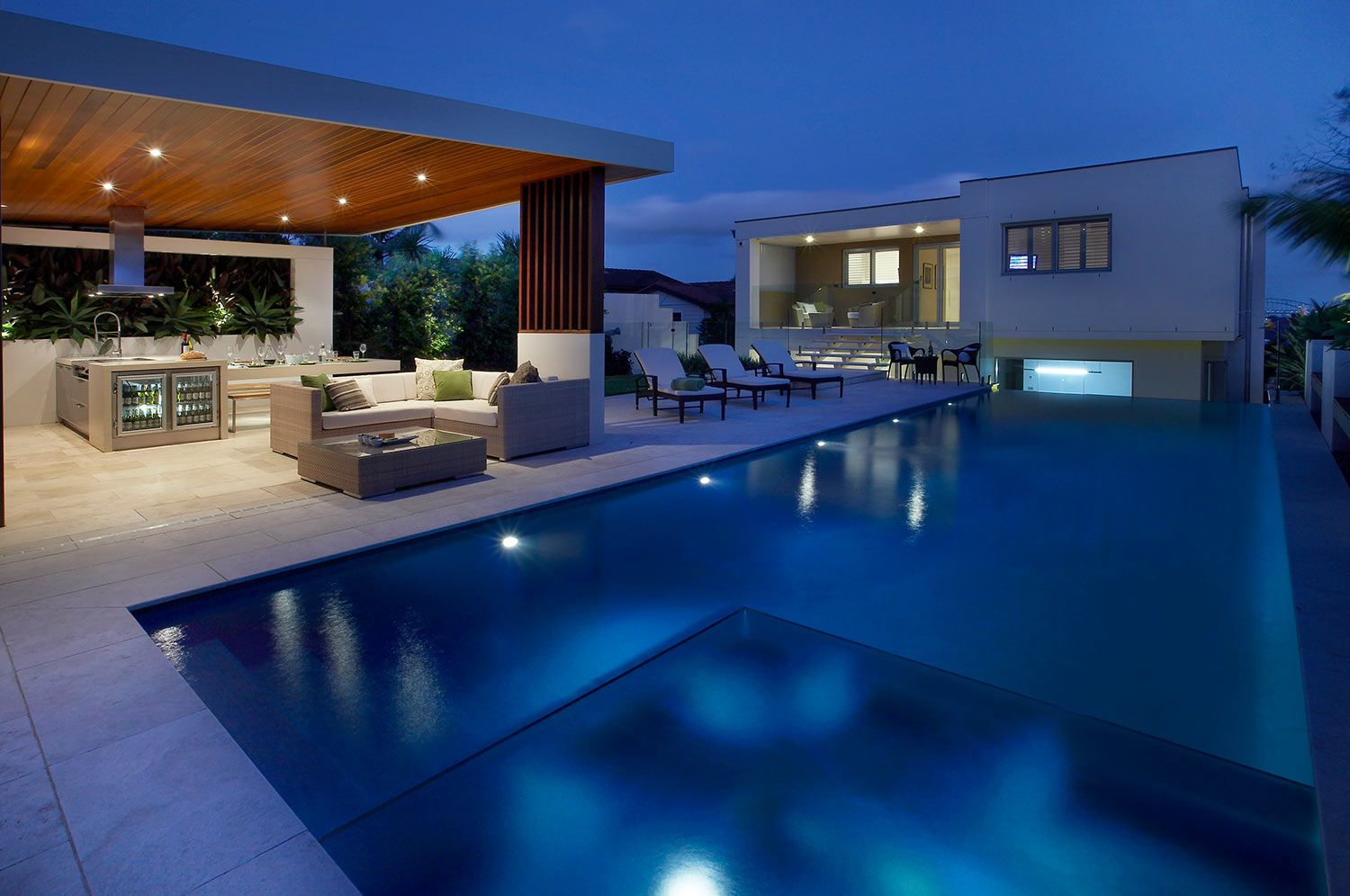 Love this pool! Residential landscaping, Outdoor rooms