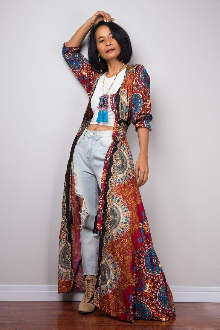 Boho Summer Dress  Bohemian Garden Party Dress  Smocked Waist Shirt Dress with