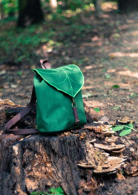 Dark Green Leaf Mini Backpack, Women's Rucksack, Boho Festival ...