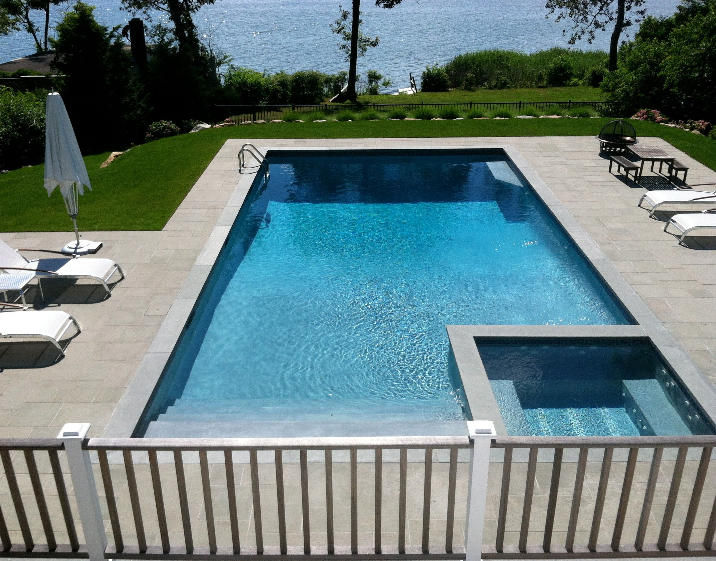 Pool over flow spa bluestone patio and retaining walls