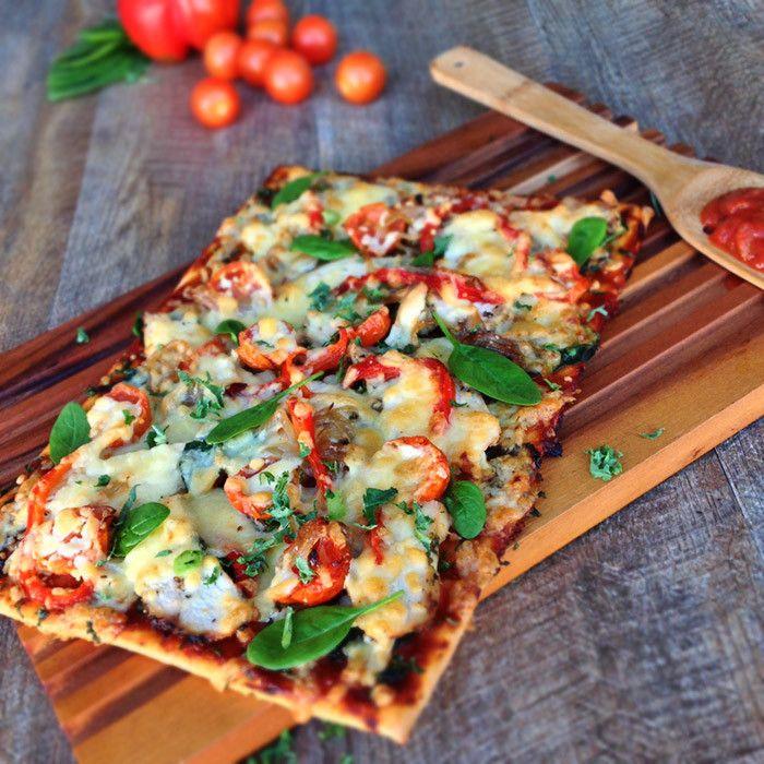 Healthy Chicken, Spinach & Feta Pizza