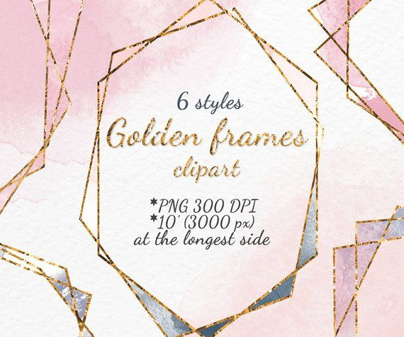 Frame Clipart Gold Frame Clipart Digital Frame Blush Pink Frame