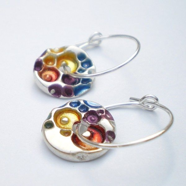 Small Silver Round Earrings With C Texture From Ali Bali Jewellery
