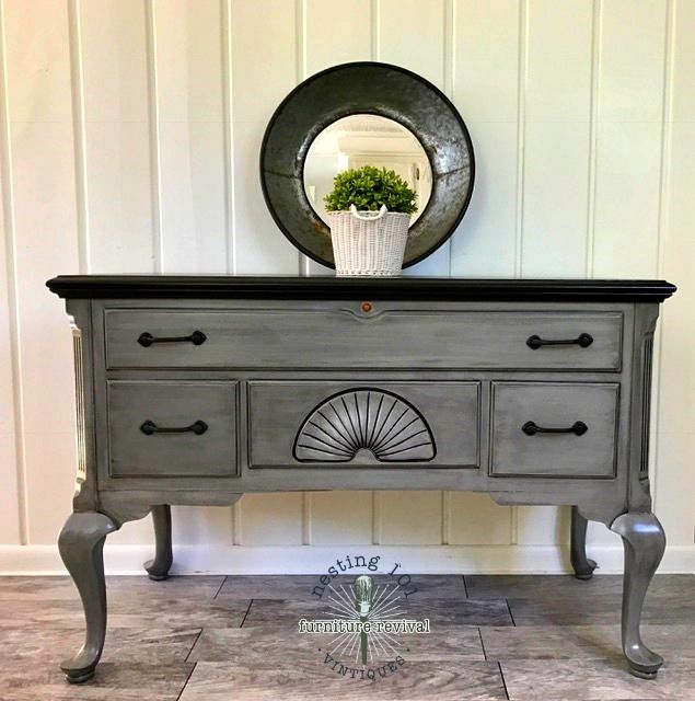 General Finishes gel stain in black on top and also used ...