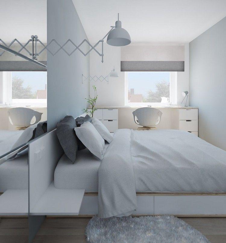 wohnungseinrichtung-ideen-schlafzimmer-schubladenbett-schreibtisch - schlafzimmer ideen grau