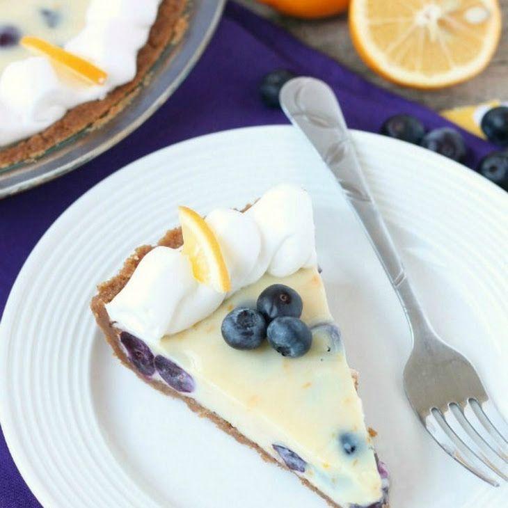 Creamy Lemon and Blueberry Pie Recipe Desserts with honey graham crackers, butter, sweetened condensed milk, egg yolks, salt, lemon zest, lemon juice