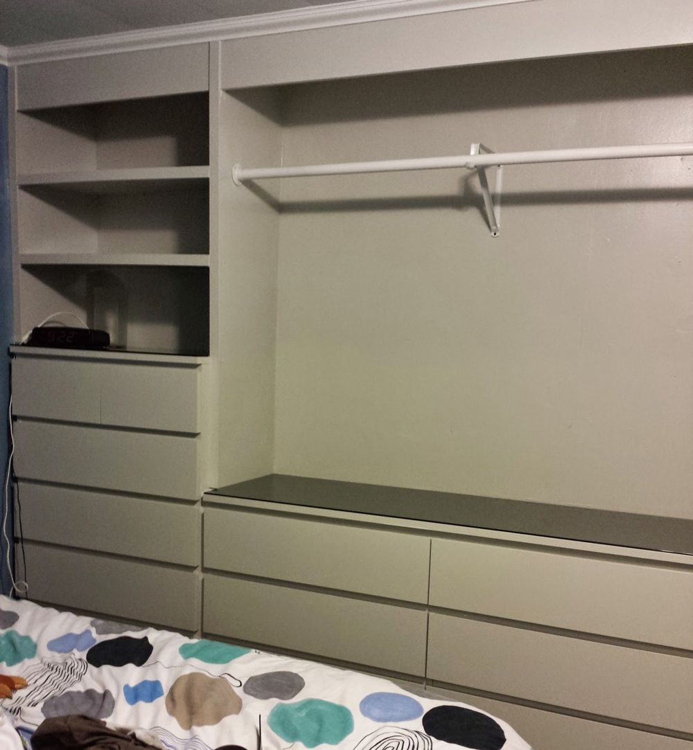 ikea hack built in wardrobe using malm dressers laundry. Black Bedroom Furniture Sets. Home Design Ideas