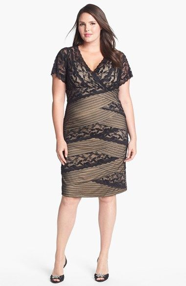 Free shipping and returns on Marina Mixed Lace Sheath Dress (Plus Size) at Nordstrom.com. Asymmetrical tiers of beaded lace alternate between floral and striped motifs to render a sultry surplice-neckline sheath backed by a contrast base. For added allure, the short sleeves and back bodice are left sheer.