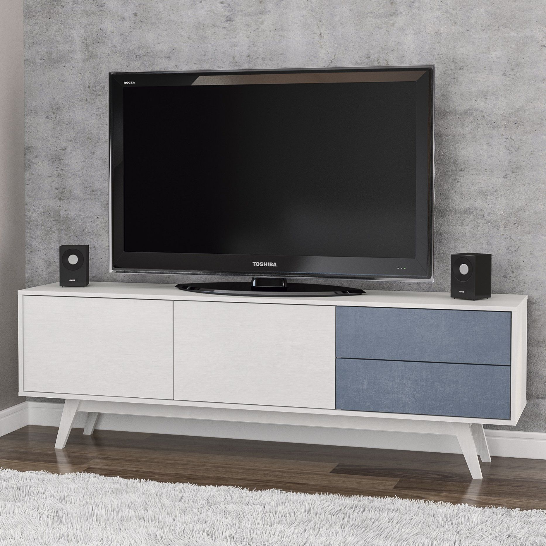 Worthington 70 Tv Stand Modern White And Slate Blue Tv Stand Living Room Ideas Tv Stand And Entertainment Center Tv Stand Living Room Tv Stand