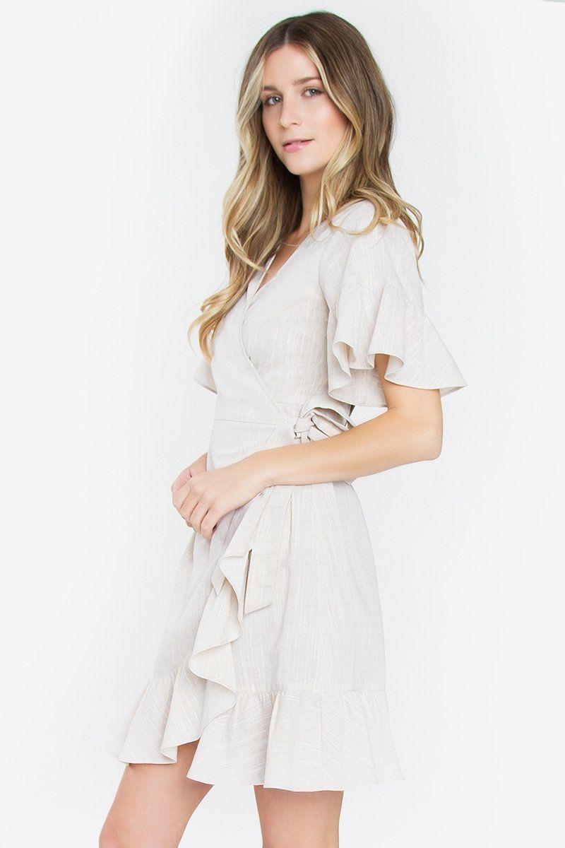 Linen Ruffle Wrap Dress Cute Spring Dress Tan Wrap Dress Mod Soul Contemporary Women S Clothing Wrap Dress Spring Outfits Ruffle Wrap Dress [ 1200 x 800 Pixel ]