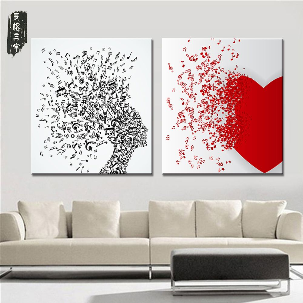 Love wall decorations oil painting canvas art abstract musical