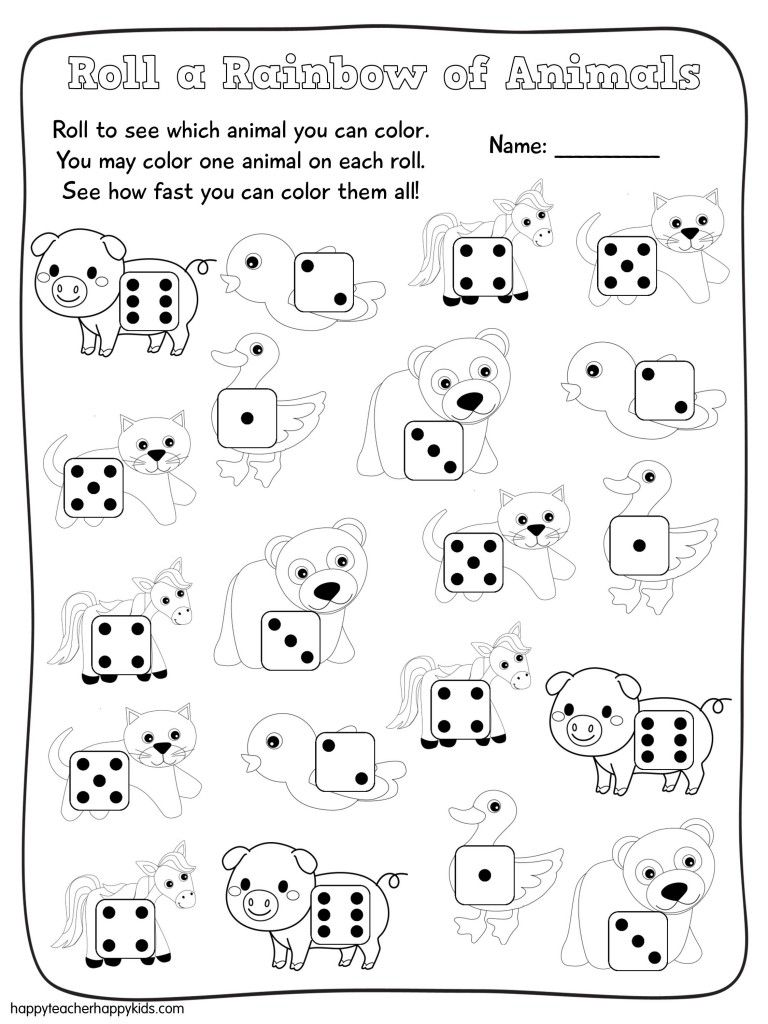 math worksheet : roll a rainbow of animals free math game great to use with brown  : Math Games For Kindergarten Free