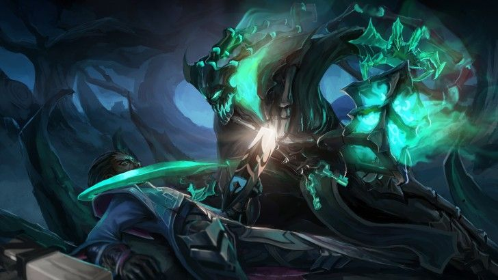 Download Thresh Vs Lucian League Of Legends Game Art 4k