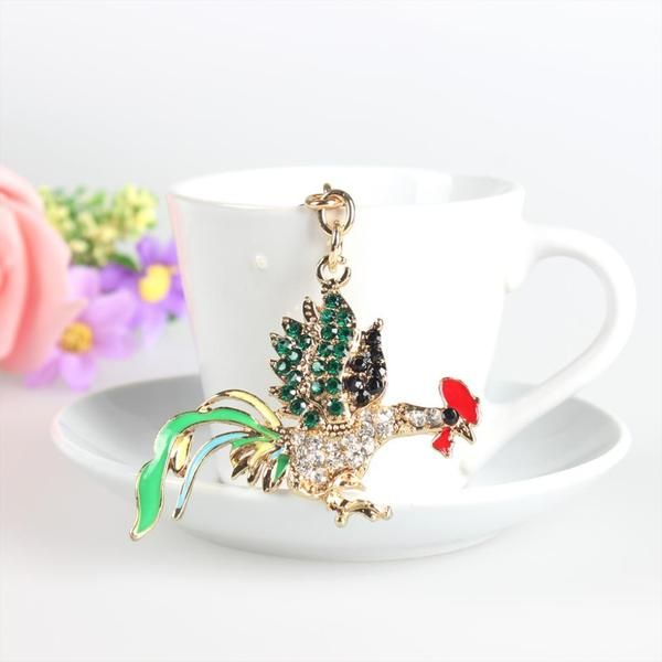 Lovely Rooster Chicken Cute Crystal Charm Keychain Regular price$10.99