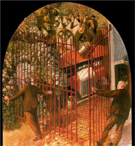 Convoy of Wounded soldiers arriving at Beaufort Hospital Gates - Stanley Spencer
