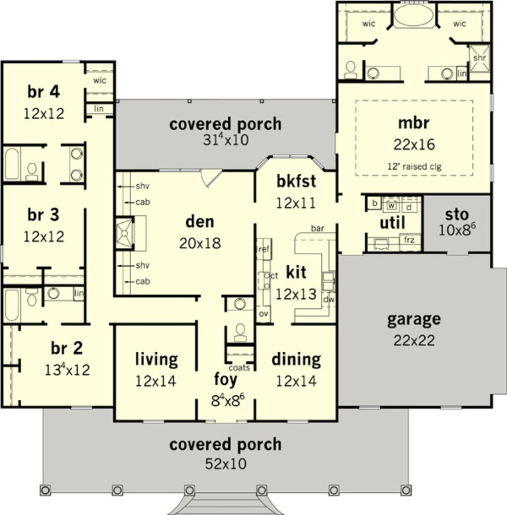 Southern Style House Plan 4 Beds 3 5 Baths 2683 Sq Ft Plan 16 332 House Plans One Story 4