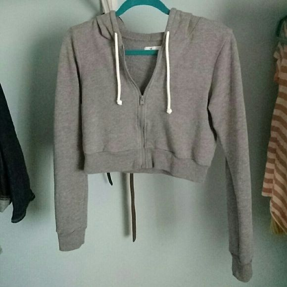 Hollister Cropped Grey Hoodie Very comfy! In excellent condition, absolutely no defects. Hollister Jackets & Coats