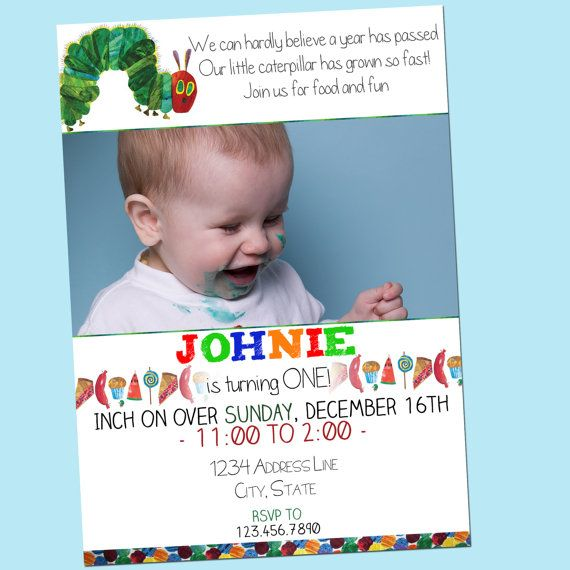 Very Hungry Caterpillar Invitation with Photo - Bright, Colorful, Custom, First Birthday - Printable - 5x7 by GoodHueDesigns