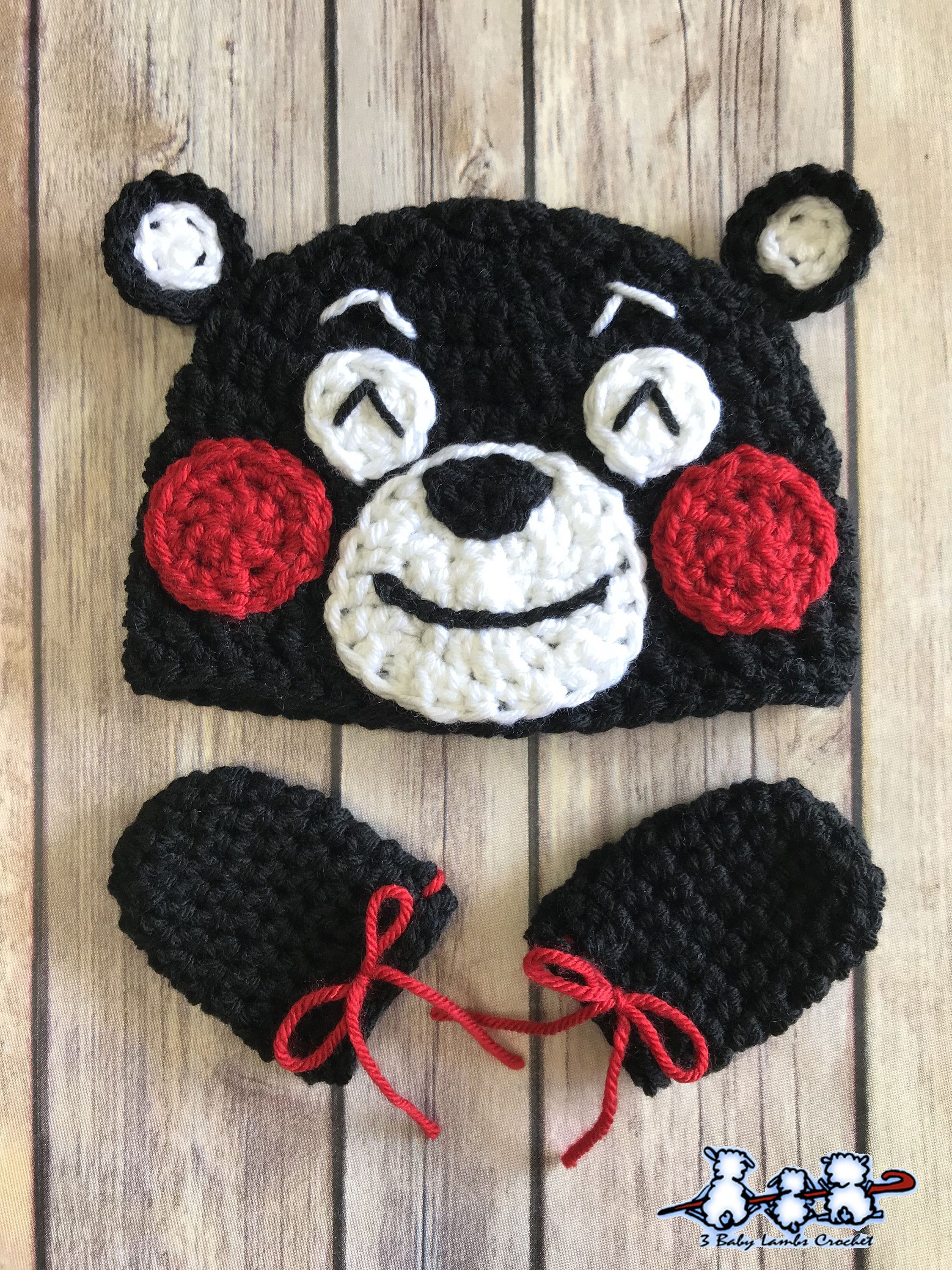 f18132d9b08 Excited to share the latest addition to my  etsy shop  Newborn Baby Crochet  Kumamon Hat and Mittens  babyshower  03months  kumamonhat  babysanrio   ...