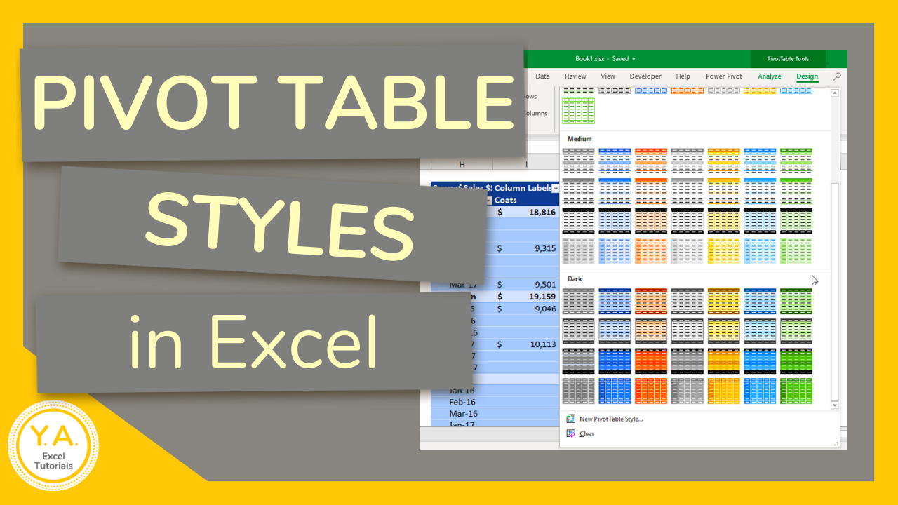 How To Change The Pivot Table Style In Excel Tutorial Excel Tutorials Microsoft Excel Tutorial Pivot Table