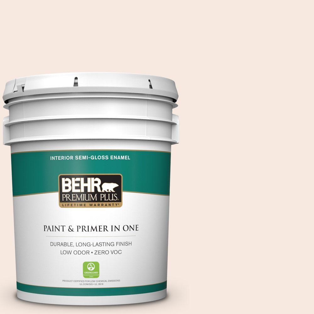 BEHR Premium Plus 5-gal. #W-D-110 Soft Muslin Zero VOC Semi-Gloss Enamel Interior Paint