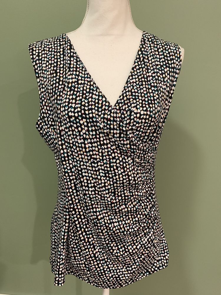 aa22c25e5d580d Talbots Womens Multi Color Black Abstract Stretch Faux Wrap Ruched Tank Top  Sz M  Talbots