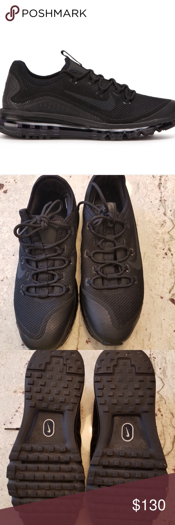0f861e0a2b Men's Nike Air Max More Brand new, worn once. Men's size 8.5US Style 898013-002  Black on Black Nike Shoes Sneakers