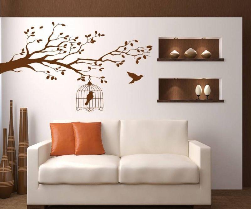 Muurstickers Tak Met Vogels.Muursticker Tak Met Vogels En Een Vogelkoooi Huis Decoratie