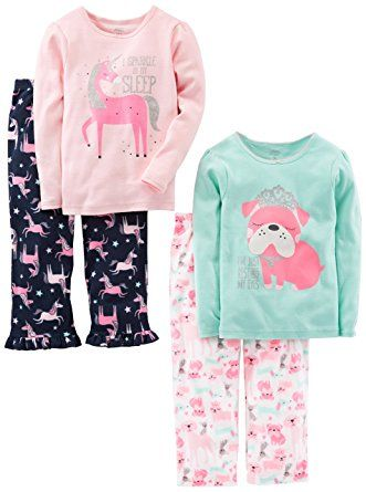 504c15a255 Simple Joys by Carter s Girls Toddler 4-Piece Pajama Set