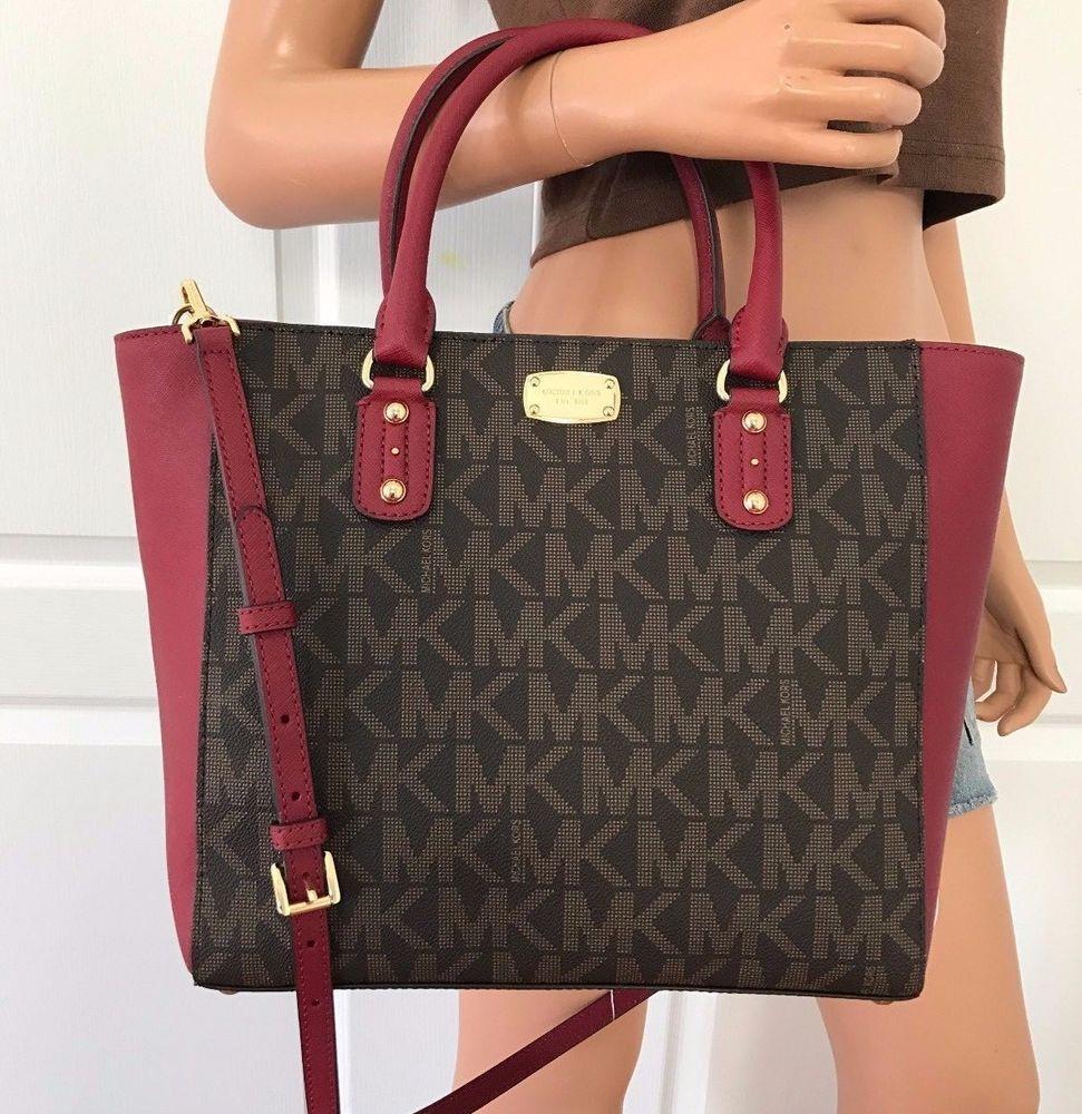 aa28c7cfbfdf NWT MICHAEL KORS MK Signature PVC Leather Large Tote Bag Handbag Purse Red  Brown  MichaelKors  ShoulderBag