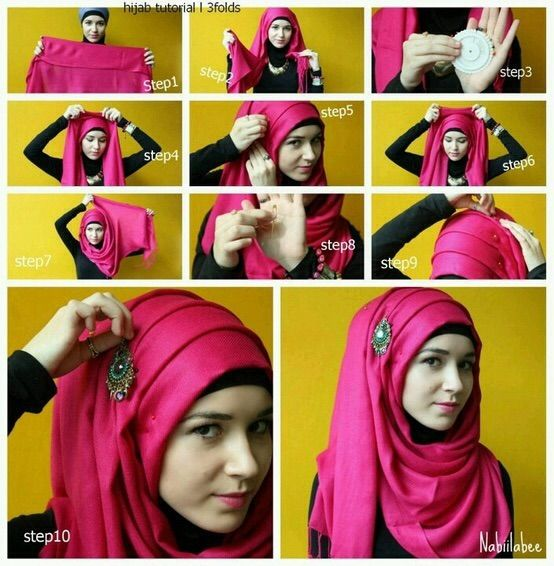 3 folds Hijab tutorial step by step by nabiilabee