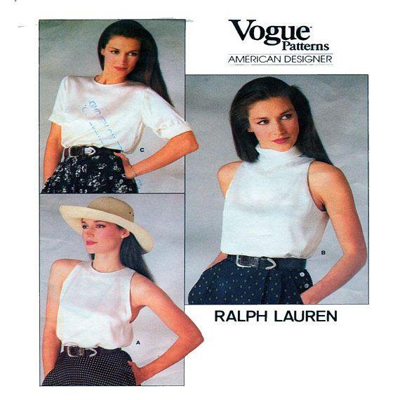 RALPH LAUREN, Vogue 1724, Women Blouse, Sewing Pattern, High Neck ...