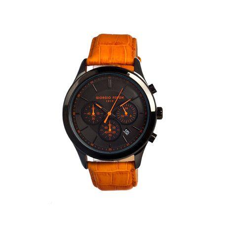 Giorgio Fedon 1919 / Vintage V Men's Watch // Black & Orange