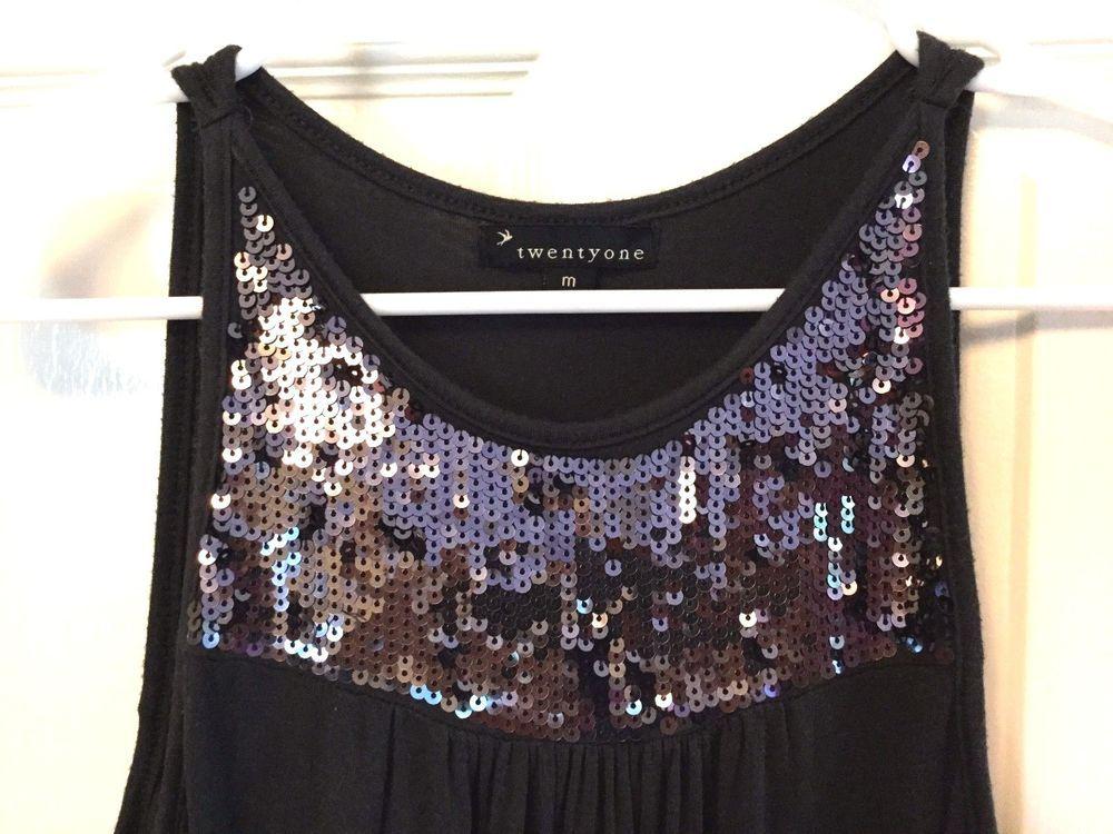 Twenty One Black Sleeveless Long Knit Top w/Sequins on Bodice Size M #TwentyOne #KnitTop #Casualevening