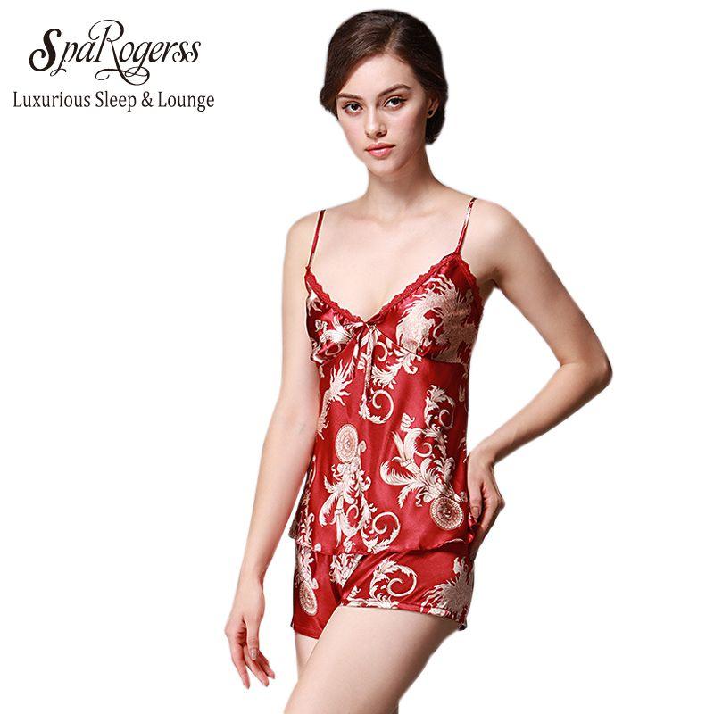 SpaRogerss 고급스러운 여성 파자마 2017 브랜드 판매 가짜 실크 여름 수면 라운지 여성 실크 잠옷 여성 반바지 TZ012