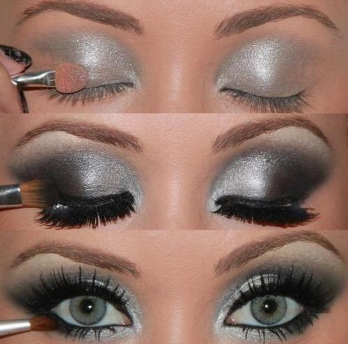 Maquillaje de noche; plata y negro
