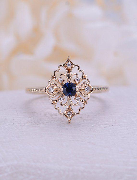 25 + › Art-Deco-Verlobungsring Vintage Sapphire-Verlobungsring Rosegold mit Blumen Einzigartige Diamanthochzeitsfrauen Braut