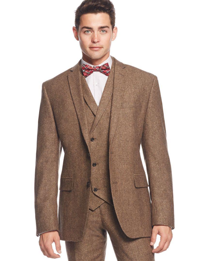 Bar Iii Brown Tweed Slim Fit Jacket Only At Macy S